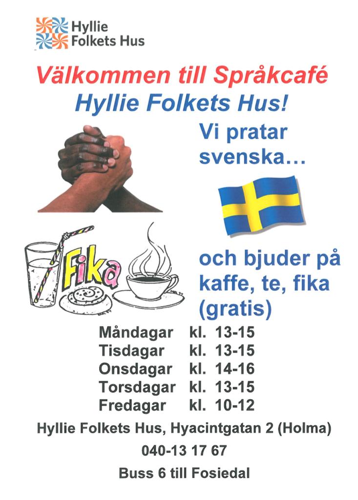 Svenskt språkcafé på Hyllie Folkets Hus
